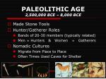 paleolithic age 2 500 000 bce 8 000 bce