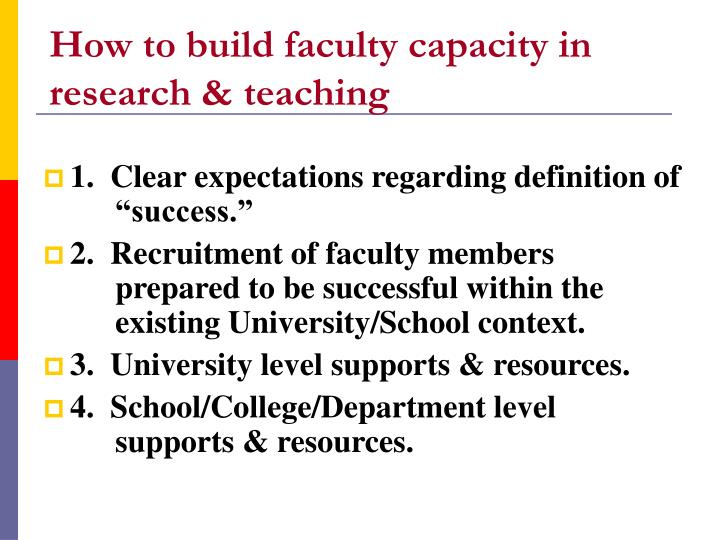 how to build faculty capacity in research teaching n.