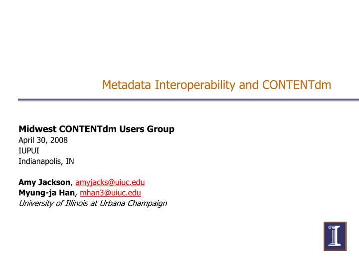 metadata interoperability and contentdm n.