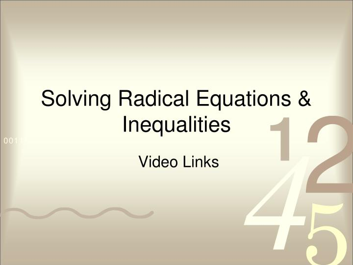 solving radical equations inequalities n.