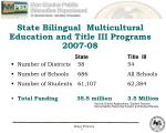 state bilingual multicultural education and title iii programs 2007 08