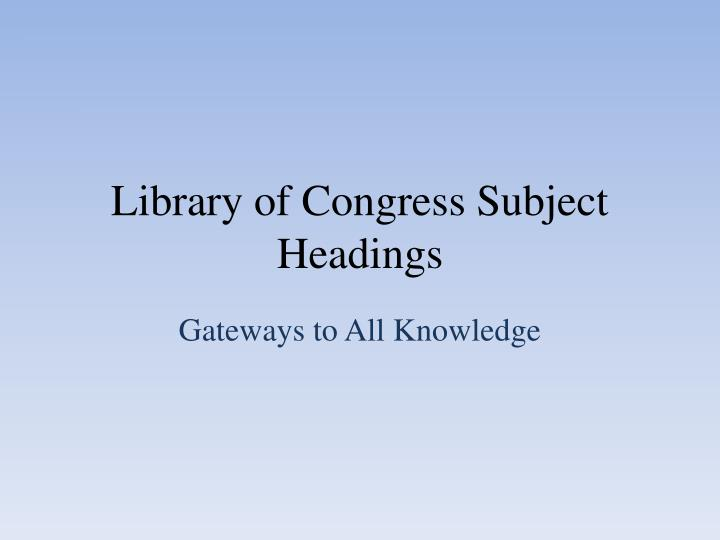 library of congress subject headings n.