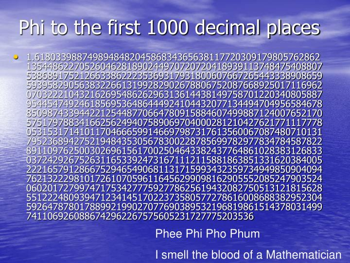 Phi to the first 1000 decimal places