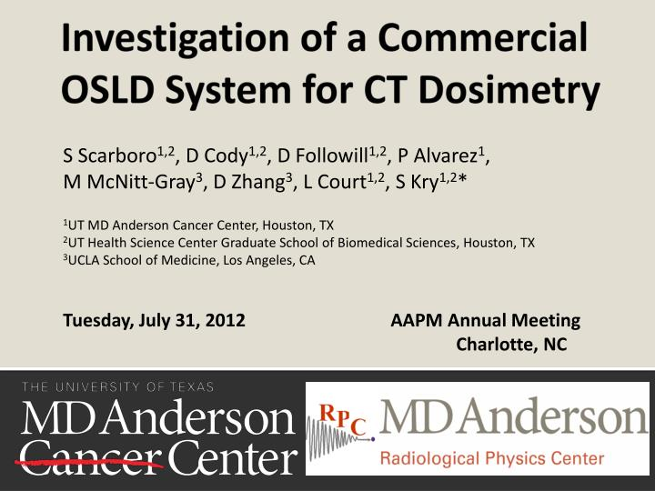 investigation of a commercial osld system for ct dosimetry n.