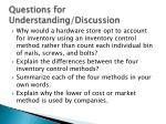questions for understanding discussion