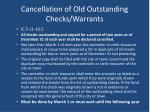cancellation of old outstanding checks warrants