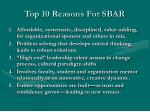 top 10 reasons for sbar