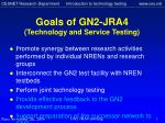 goals of gn2 j ra4 technology and service testing