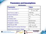 parameters and assumptions