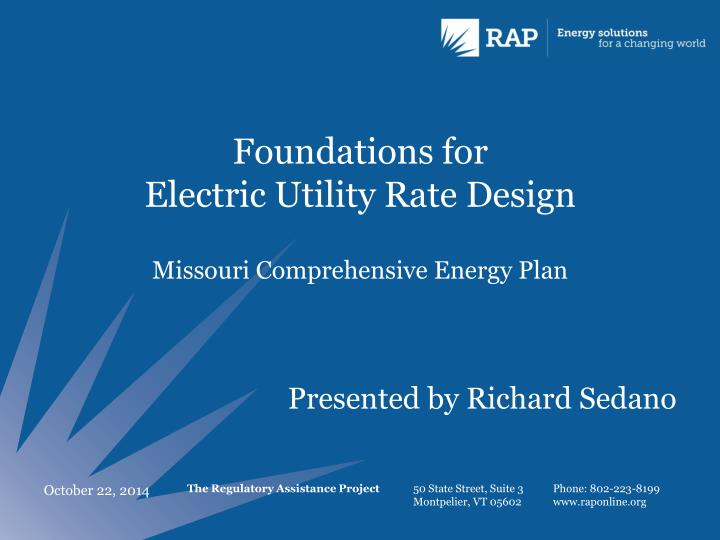 foundations for electric utility rate design n.