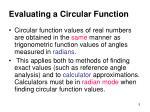 evaluating a circular function