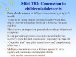 mild tbi concussion in children adolescents