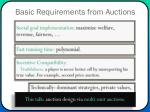 basic requirements from auctions