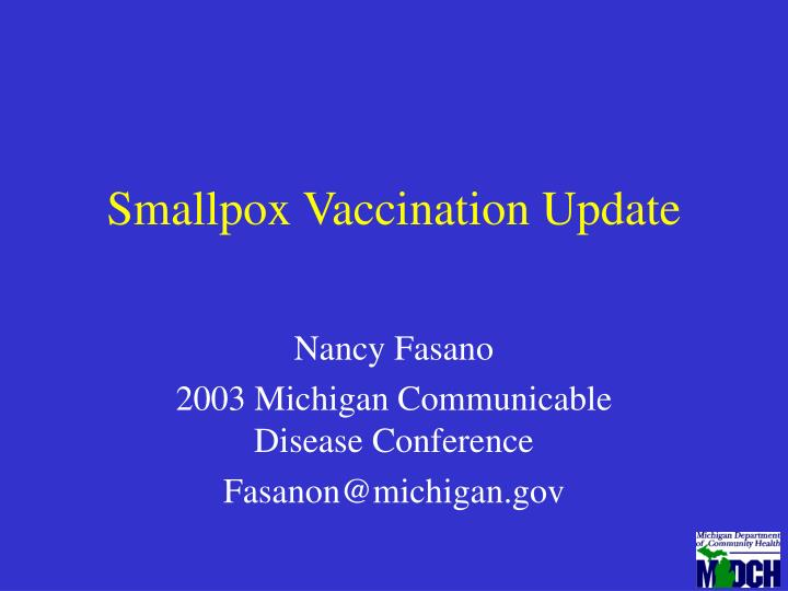 smallpox vaccination update n.