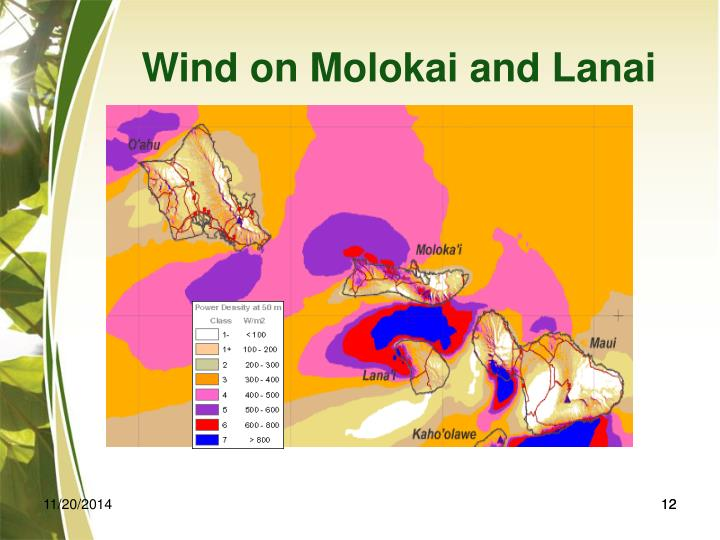 Wind on Molokai and Lanai