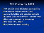 cli vision for 2013