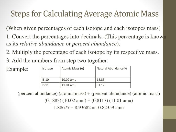 Ppt Calculating The Average Atomic Mass Powerpoint Presentation