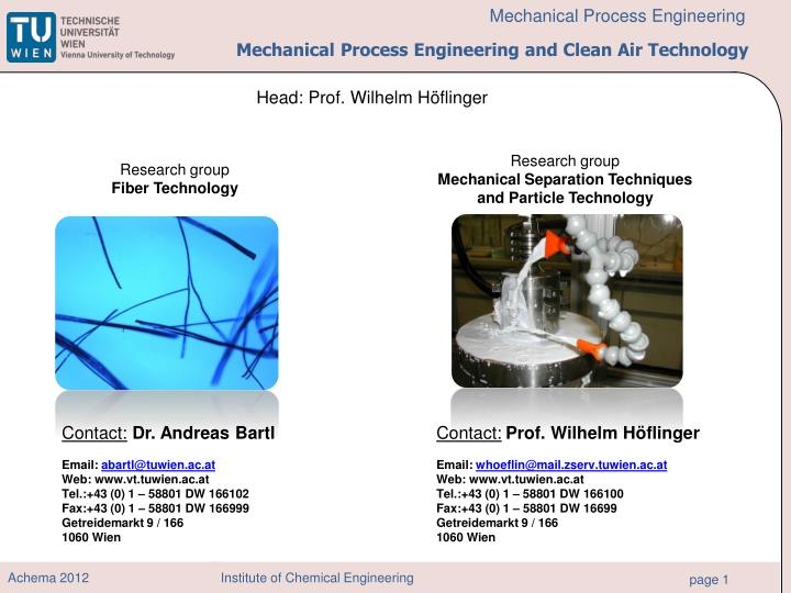 mechanical process engineering and clean air technology n.