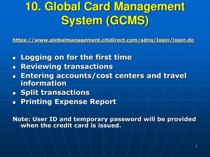 10 global card management system gcms n.