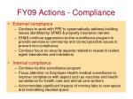 fy09 actions compliance