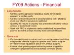 fy09 actions financial