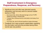 staff involvement in emergency preparedness response and recovery