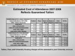 estimated cost of attendance 2007 2008 reflects guaranteed tuition