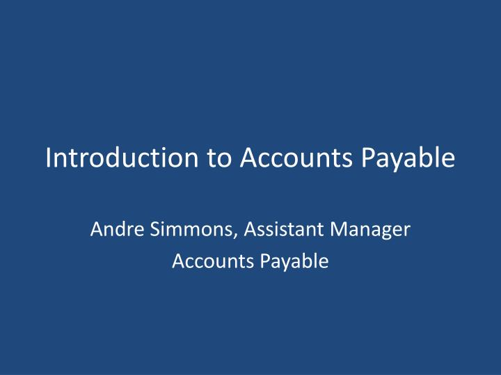 introduction to accounts payable n.