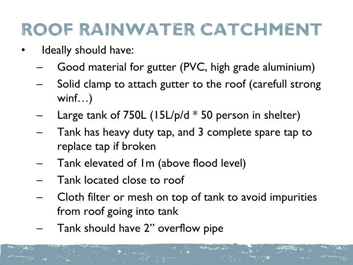 roof rainwater catchment n.