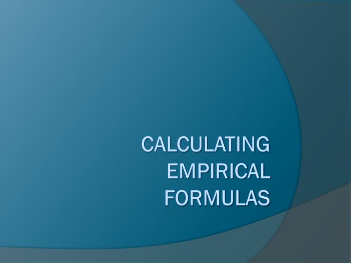 calculating empirical formulas n.