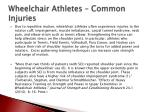 wheelchair athletes common injuries