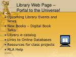 library web page portal to the universe