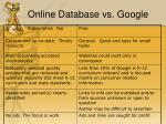 online database vs google