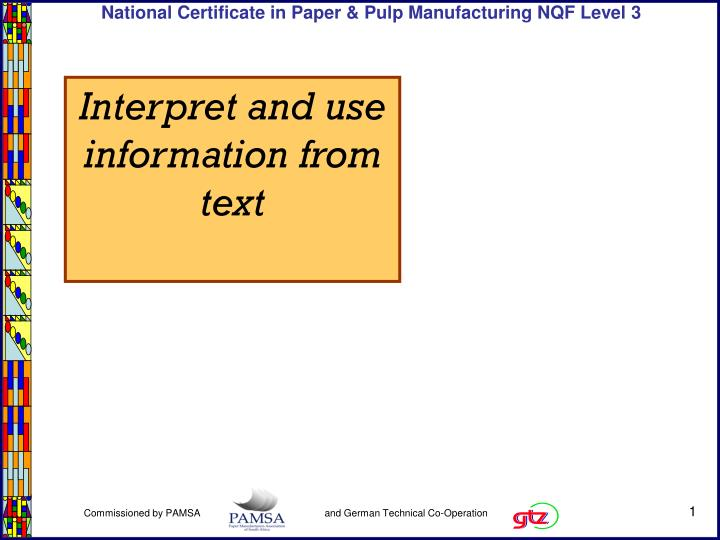 interpret and use information from text n.