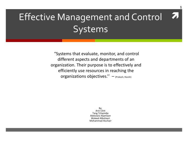 effective management and control systems n.