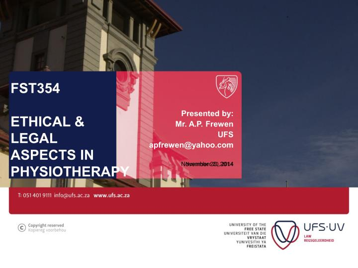fst354 ethical legal aspects in physiotherapy n.