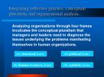 integrating reflective practice conceptual pluralism and organizational analysis