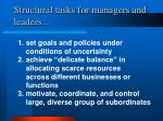 structural tasks for managers and leaders