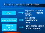 tactics for vertical coordination