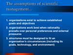 the assumptions of scientific management