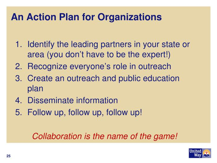 An Action Plan for Organizations