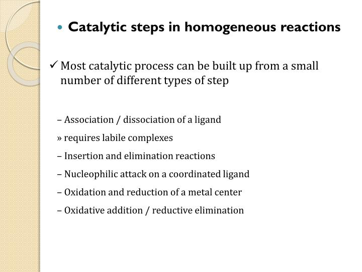 Most catalytic process can be built up from a small number of different types of step