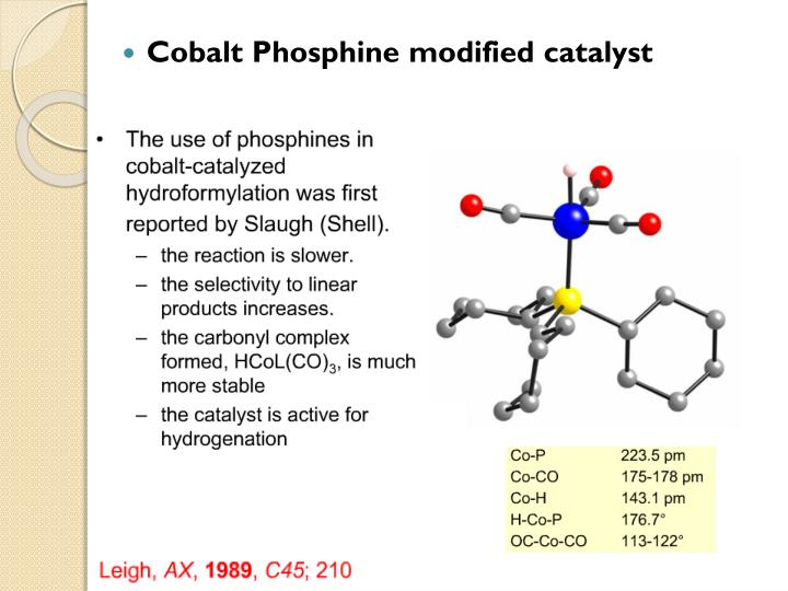 Cobalt Phosphine modified catalyst