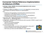 connected vehicle reference implementation architecture cvria