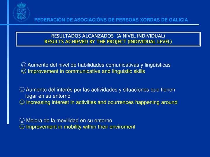 RESULTADOS ALCANZADOS  (A NIVEL INDIVIDUAL)