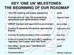key one un milestones the beginning of our roadmap