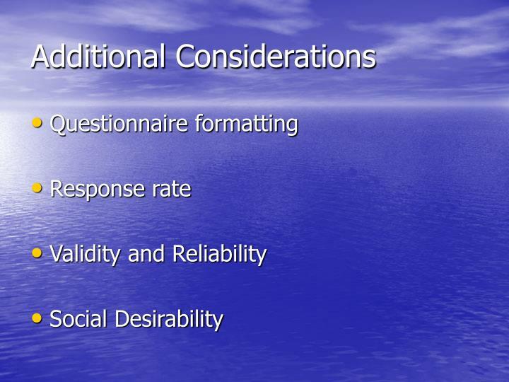 Additional Considerations