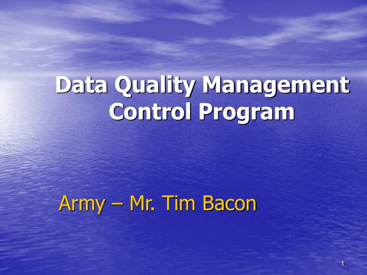 data quality management control program n.