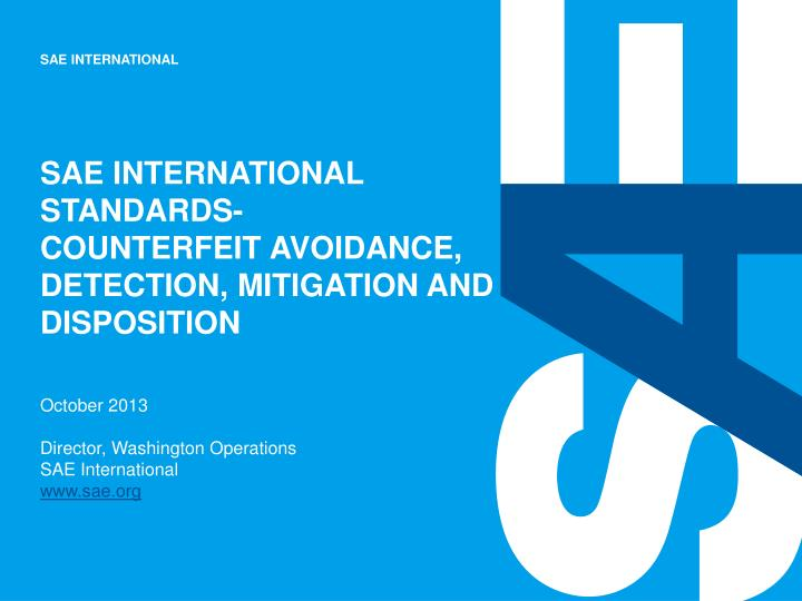 sae international standards counterfeit avoidance detection mitigation and disposition n.