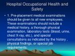 hospital occupational health and safety